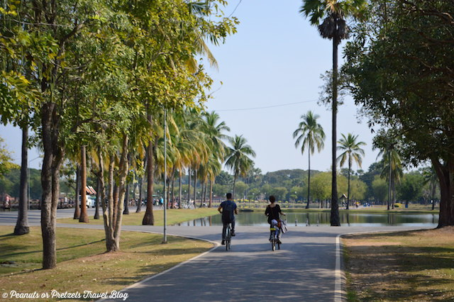 Riding Bikes around the Sukhothai, Thailand