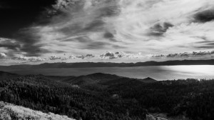 "The view from the ""Bench"" a memorial bench built high up on Tahoe's ridge line."