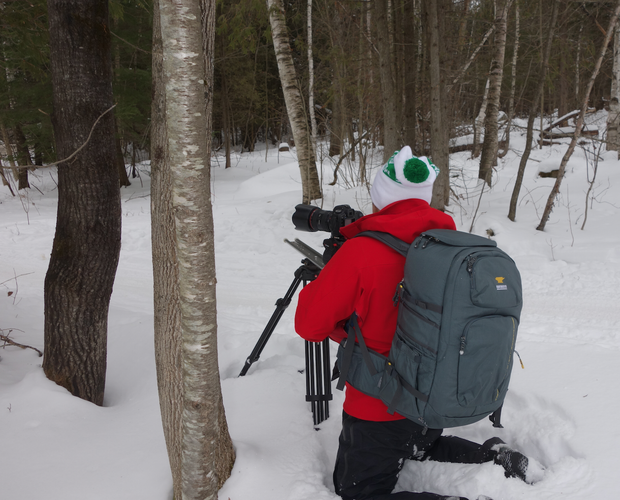 Evan Kay, Ibex In-house videographer shooting some Fat Biking in Barre, VT in the snow with his Mountainsmith Parallax
