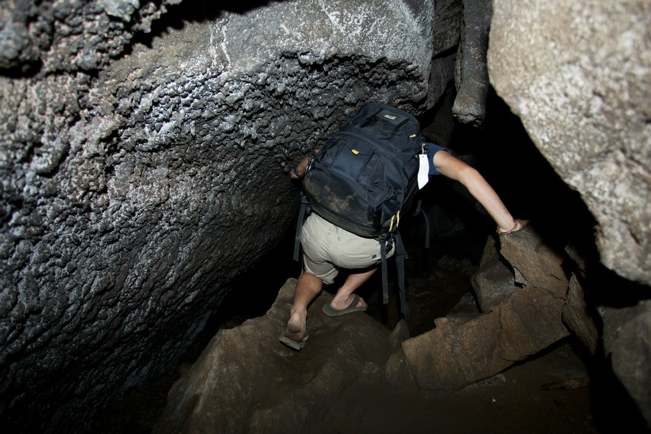 David Sekiguchi explores skylight caves with his Mountainsmith Borealis AT photography backpack
