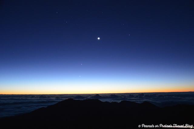 Stars in the sky just before sunrise on the summit of Haleakala