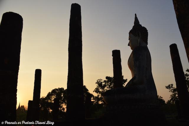 Sunrise with Buddha in sukhothai thailand
