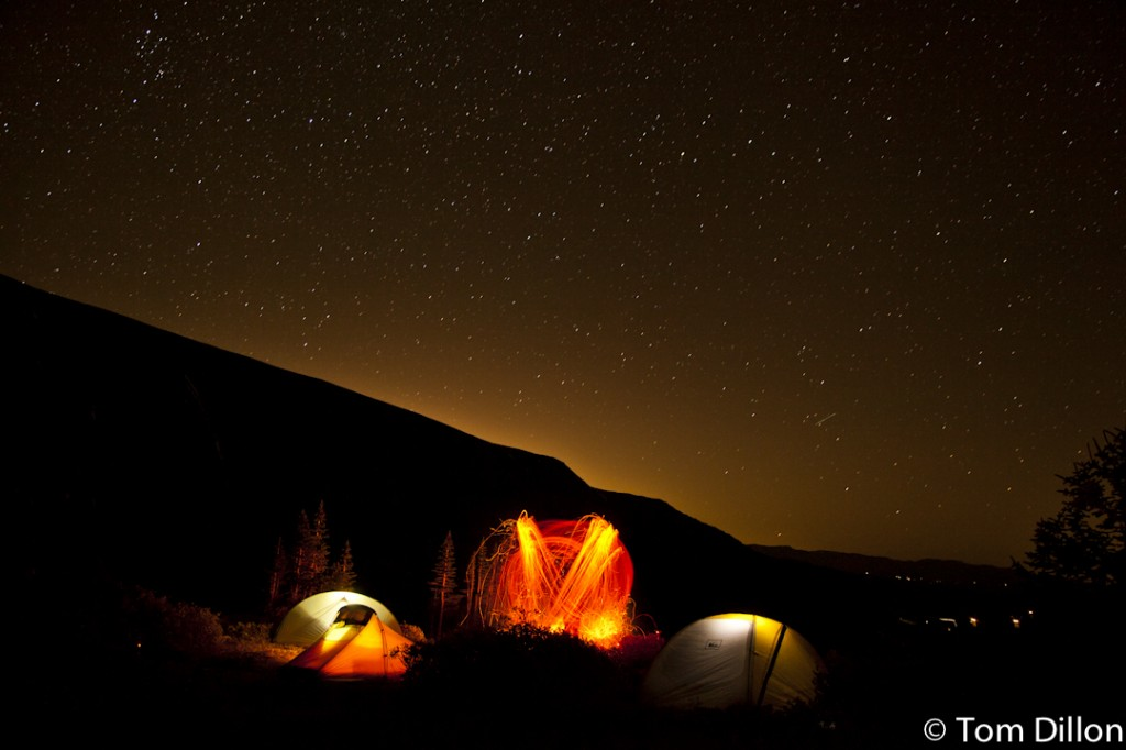 Two tents shot by Tom Dillon in Alma, Colorado with a long exposure