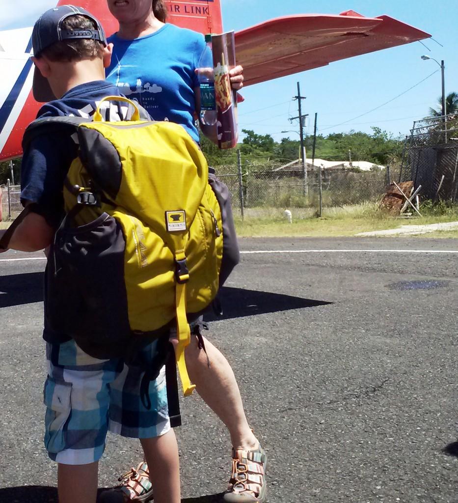Taj Getzel carries the Mountainsmith Scream 25 on his flight to Culebra Puerto Rico
