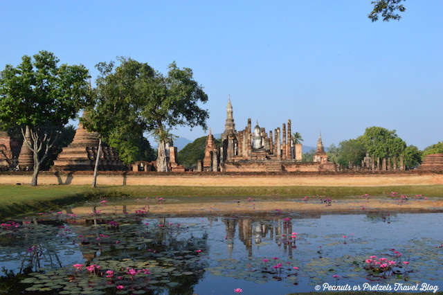 Temples over the lakes in Sukhothai Thailand