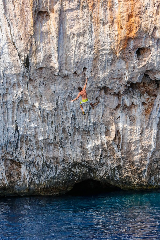 a climber falls while deep water soloing near Olympos Turkey