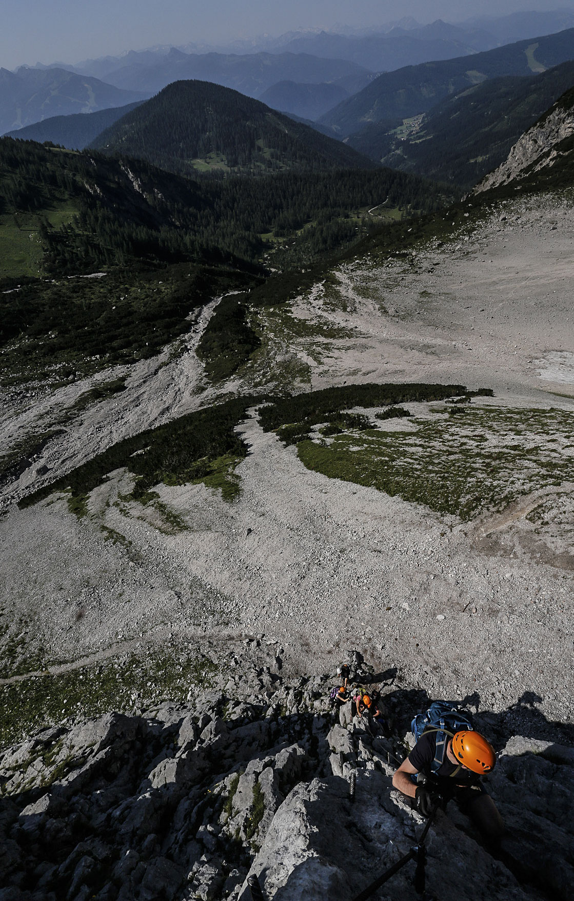 climbers move up Anna on the south face of Hoher Dachstein