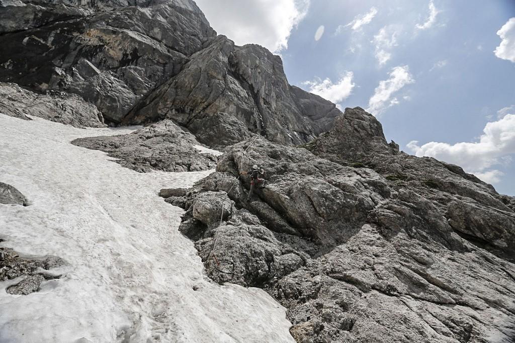the start of the johann route on klettersteig, via ferrata