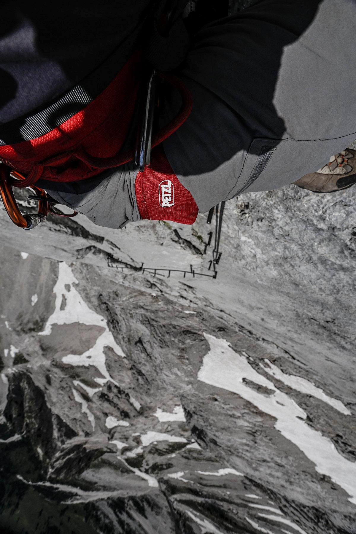 Looking down the peg-line on Johann, klettersteig, heher dachstein