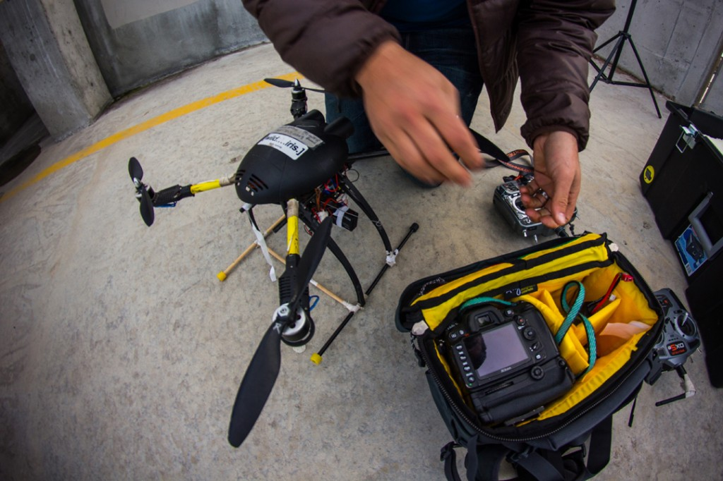 Bruce Wilson of Three Peak Films uses the Mountainsmith Tour FX camera lumbar pack to carry the parts for his remote control helicopter