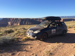 After a long sketchy dirt road, one bumper later, the Matrix makes it to the Grand Canyon