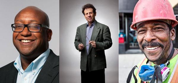 Portrait gallery of three men