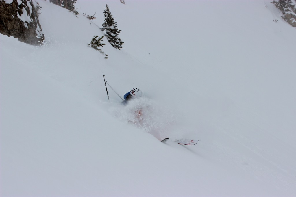 Mark Wayne SIsk lands in deep powder in the Jackson Hole backcountry