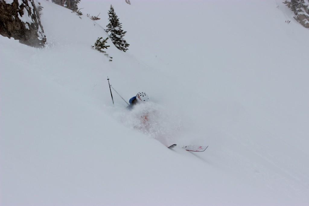 Mark Wayne SIsk lands in deep powder in the Jackson Hole backcountry