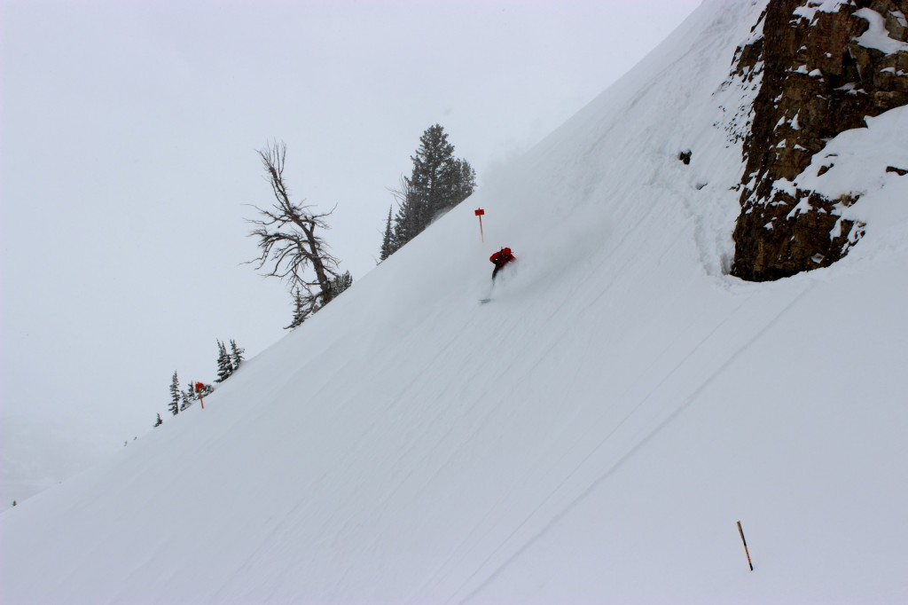 Ian Tarbox skis down the expert chutes in Jackson Hole