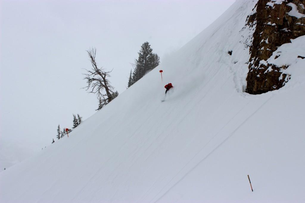 Ian Tarbox skis down the expert chutes in Jackson Hole