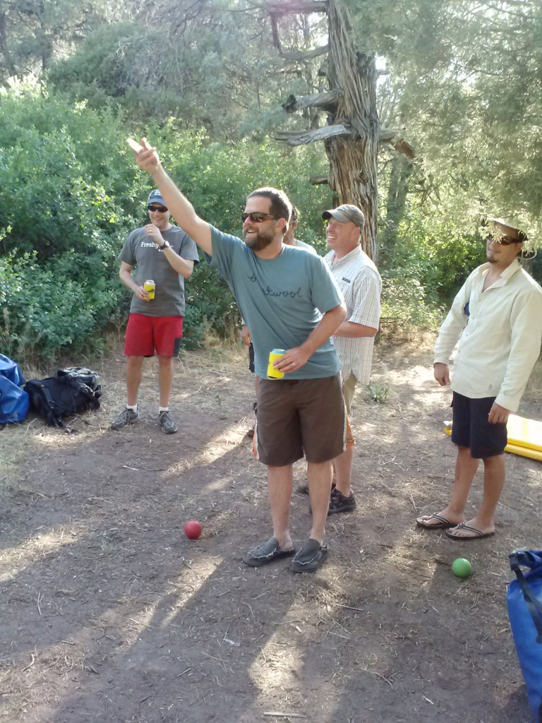 Jonathan McFarland tosses a bocce ball