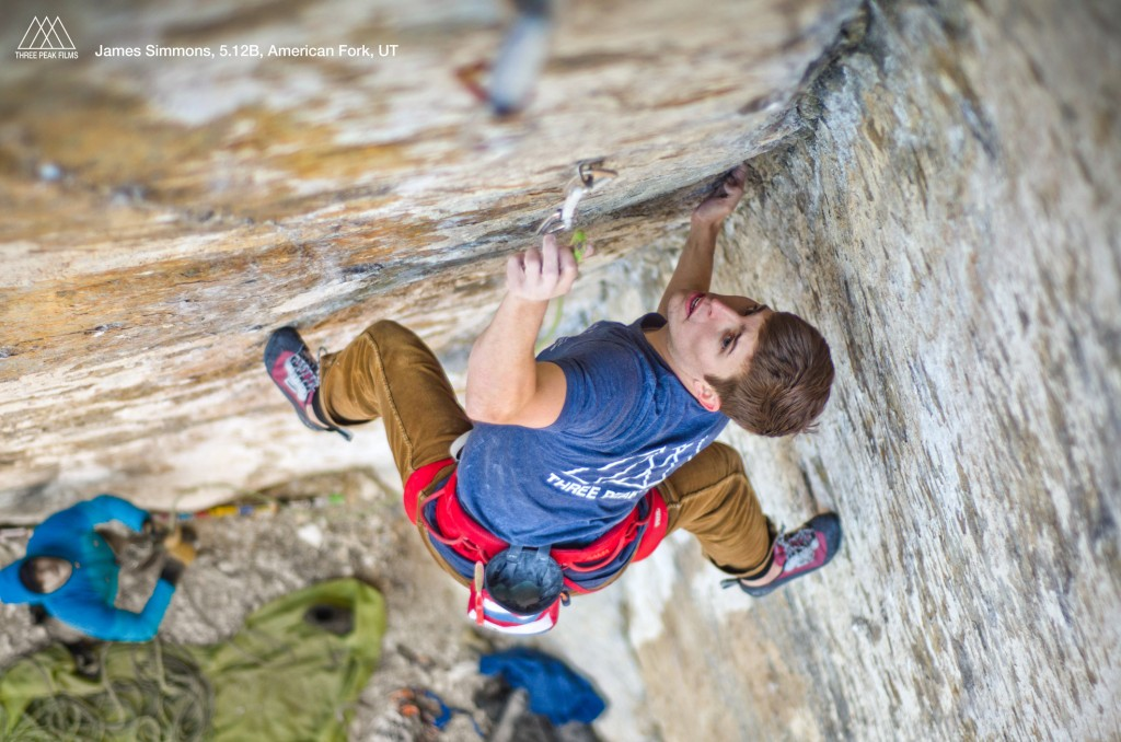 James Simmons climbs a 5.12b crack in American Fork, UT