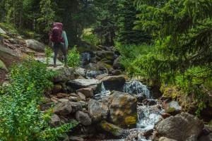 Woman hiking Long's Peak, Colorado