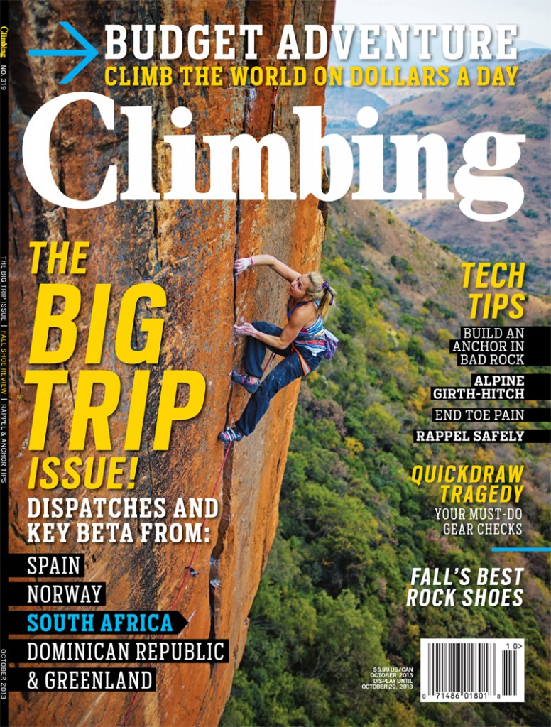 Cover of Climbing Magazine No. 319 October 2013 featuring Sasha DiGiulian