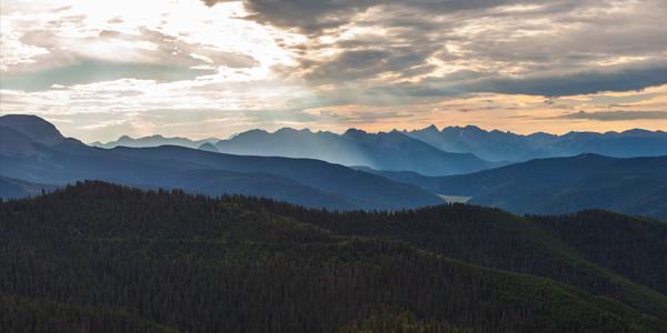 Panorama of Colorado Trail mountains from silverton to durango