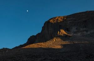 View of Long's Peak, Colorado under the moon