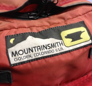 Mountainsmith embroidered logo from the 1980s
