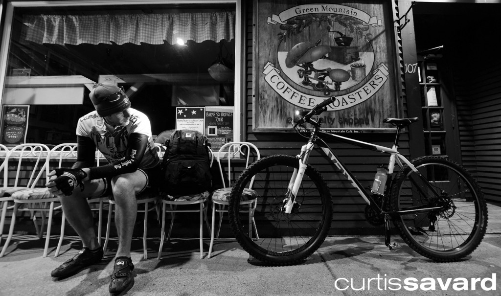 Curtis Savard stopped at a general store on his bike commute to Mad River Glen