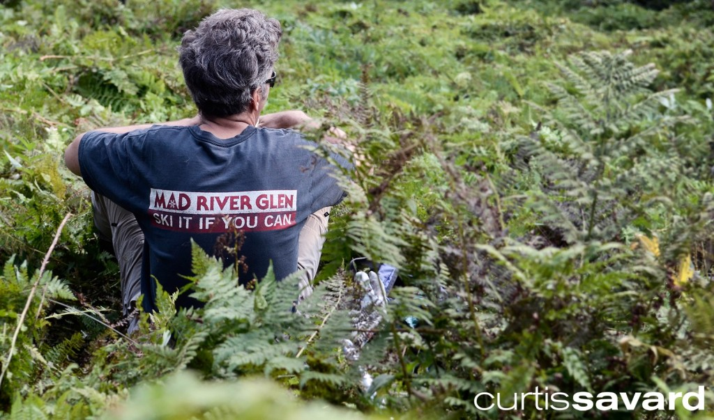 Mow crew employee at Mad river glen takes a break while wearing his MRG t shirt