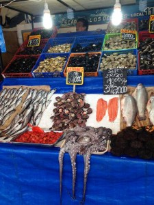 Valparaiso Fish Market with fresh octopus