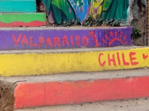 painted steps in Valparaiso, Chile