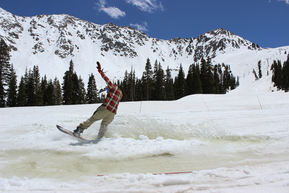 jeremy dodge pond skimming at arapahoe basin ski resort