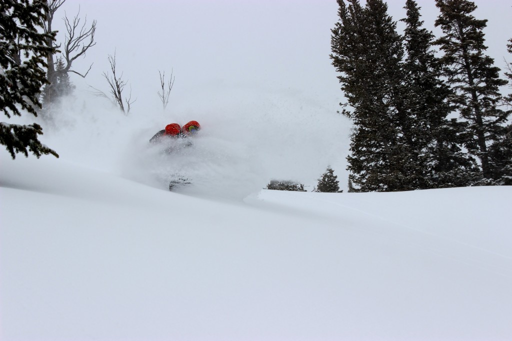 Ian Tarbox takes a deep powder turn in Rock Springs sidecountry of Jackson Hole Mountain Resort