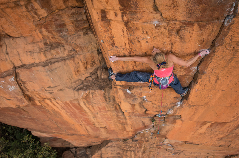 Sasha DiGiulian climbing on Rolihala in Kruger National Park, South Africa