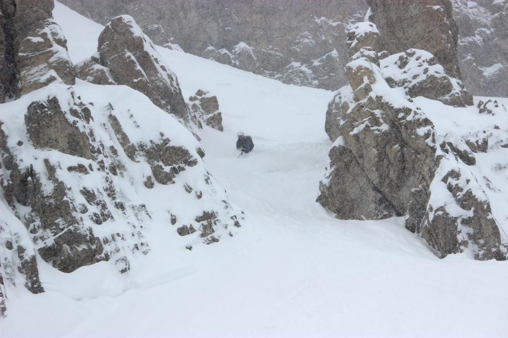 Mark Wayne Sisk skis through Ship's Prow in the Jackson Hole Mountain Resort sidecountry