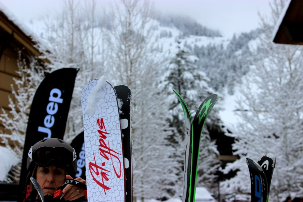 Fatypus skis on a rack in Jackson Hole