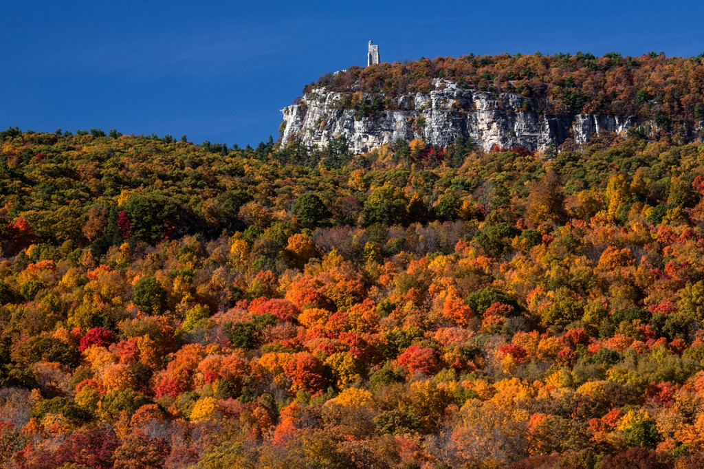 skytop, long-range polarized tripod setup for autumn colors in New York.