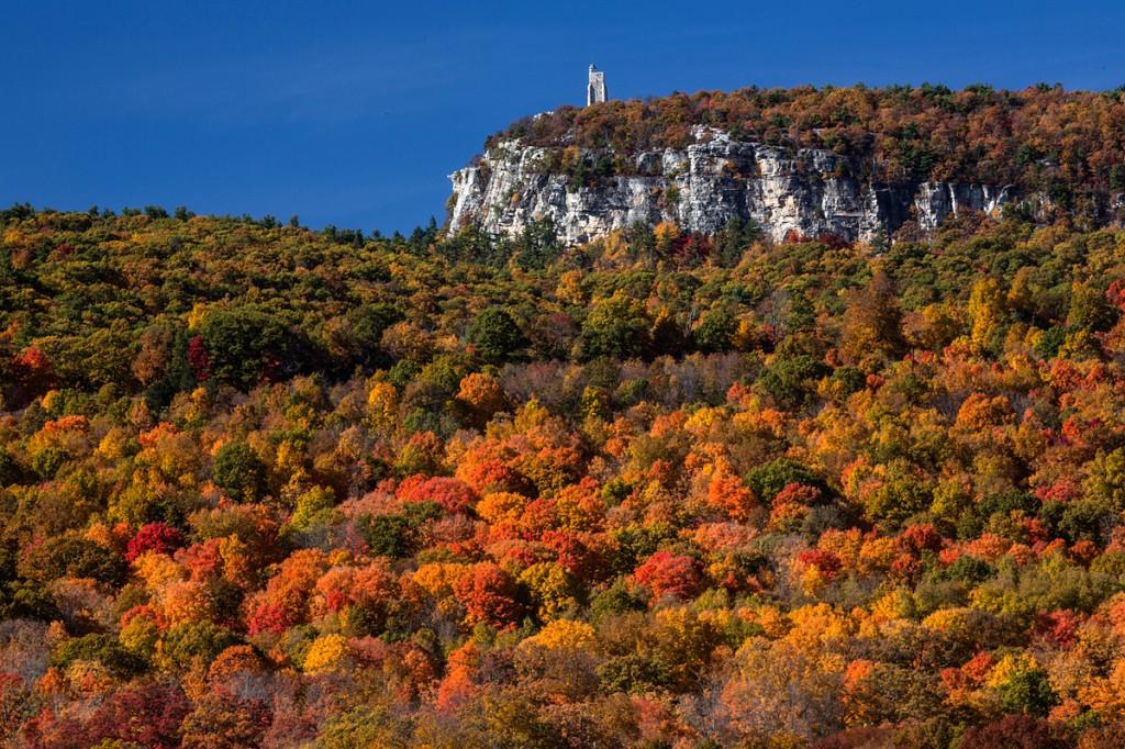 skytop, long-range polarized tripod setup for autumn colors in New York.