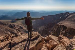 Girl summits Long's Peak, Colorado