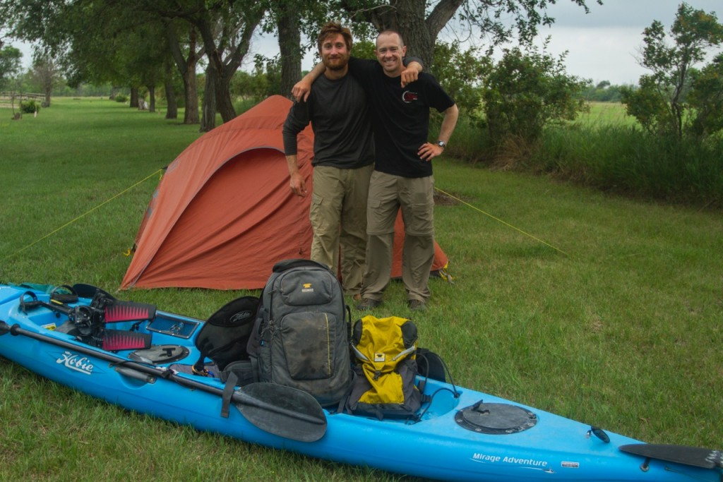 Joe Zimmerman and Nick Caizazza of the Blackwater Drifters stand among their gear from Mountainsmith and Hobie.