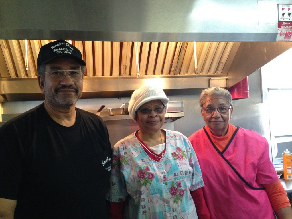 Johnnie Lassiter and colleagues at Broadnax Diner in Seaboard, NC