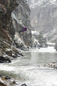 crossing the river by rope in eldorado canyon colorado