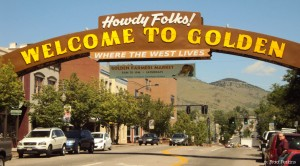 The famous Welcome to Golden sign in Golden, Colorado, by Brad Perkins