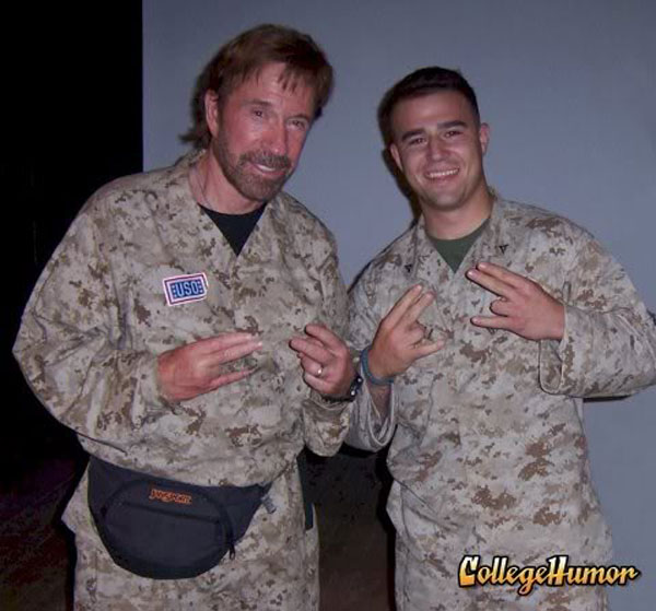 Chuck Norris wearing a fanny pack