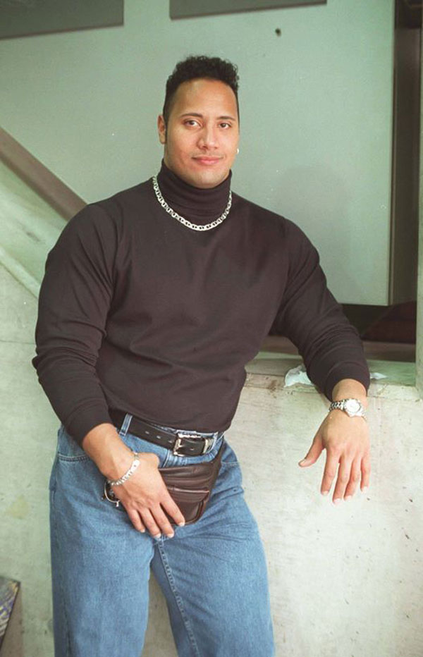 "Dwayne ""The Rock Johnson wearing a fanny pack"